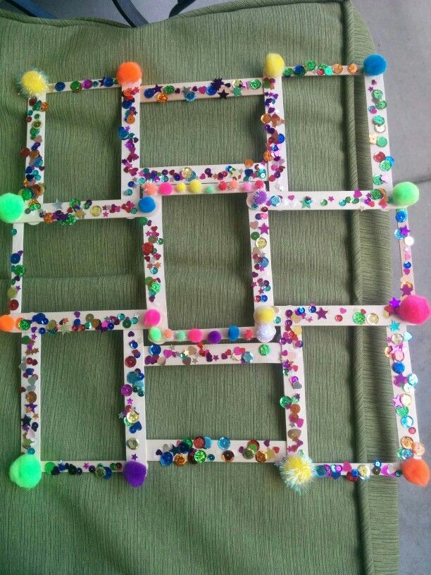Collage frame we made for Father\'s Day. Made from thick and thin ...