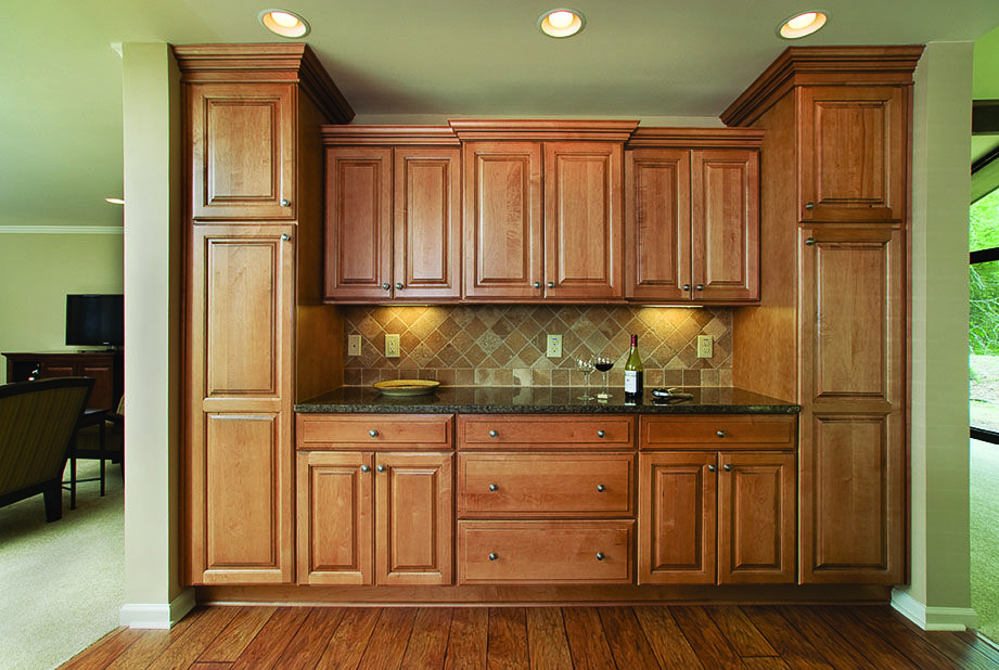 Glazed Maple Cabinet Buffet with Flanking Utility Cabinets ...