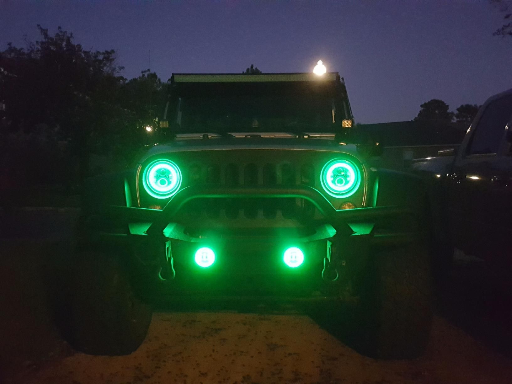 7 Inch Round Rgb Color Changing Halo Led Headlights And Rgb Fog