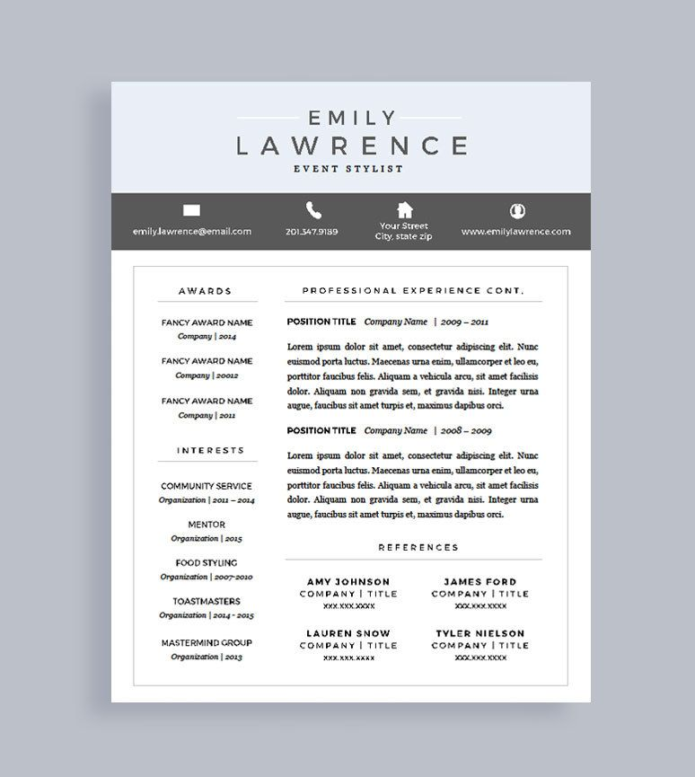 Modern Resume Template | Free Cover Letter | Resume for Word and ...