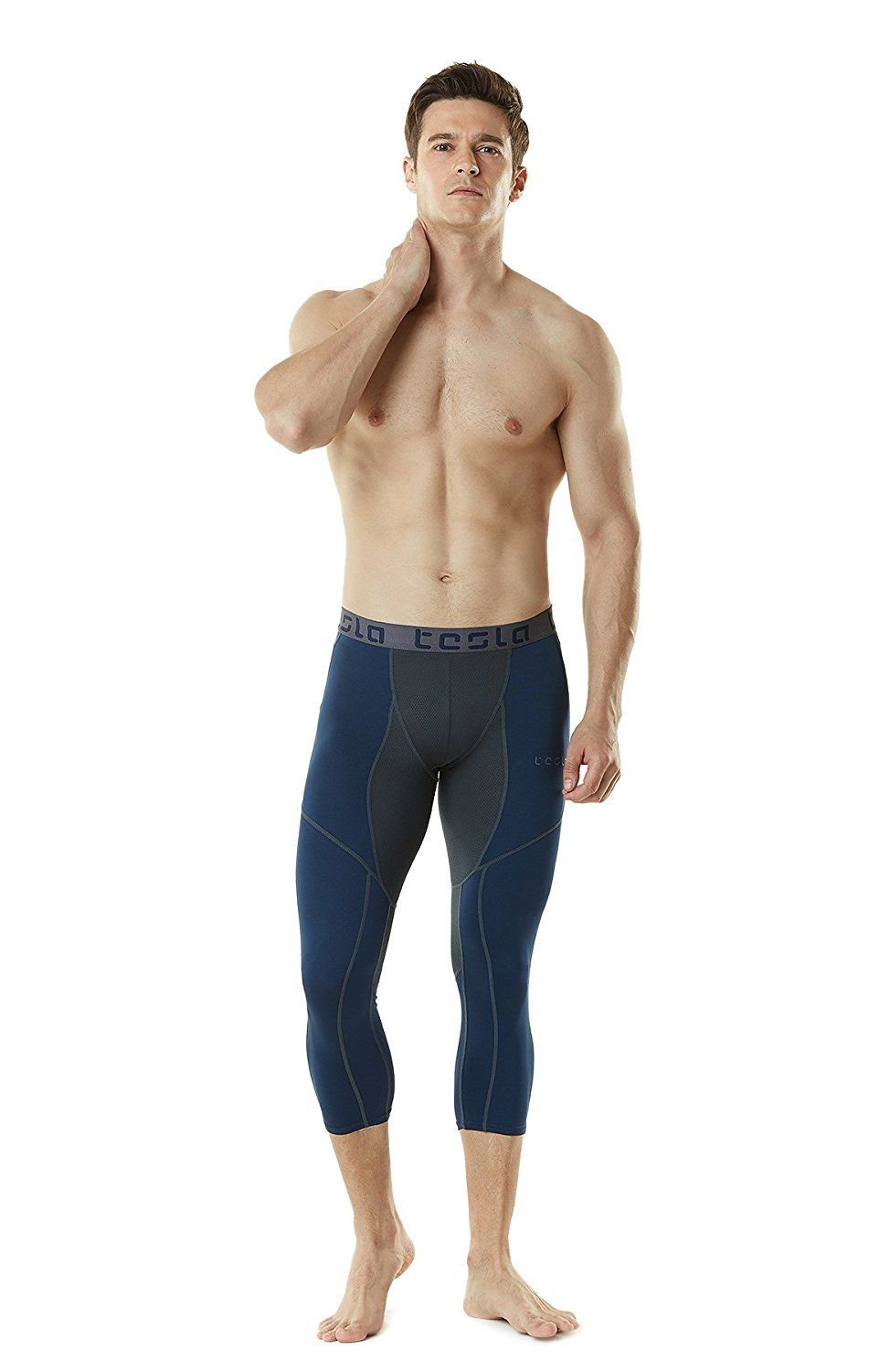 18f5d441ca Tesla Men's Compression 3/4 Capri Shorts Baselayer Cool Dry Sports Tights  MUC78 / P15 *** Want additional info? Click on the image.
