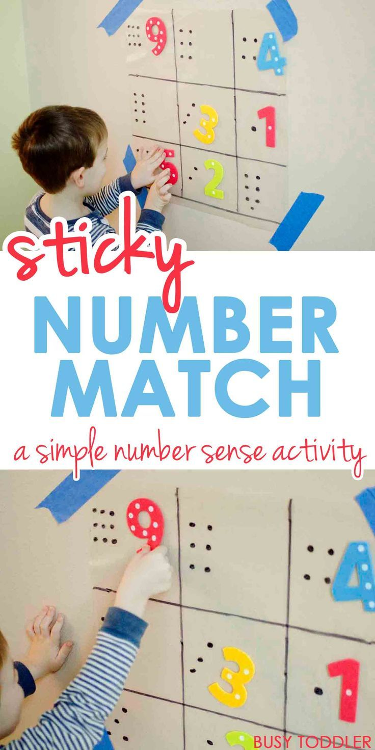 Sticky Number Match - What a great preschool math activity; toddler math activity; indoor activity {pacifickid.net/}