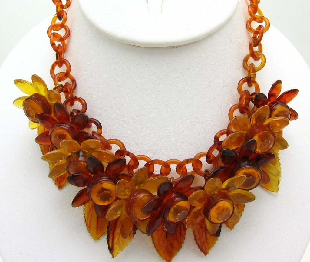 Celluloid Plastic Chain Floral Necklace Large Flowers And