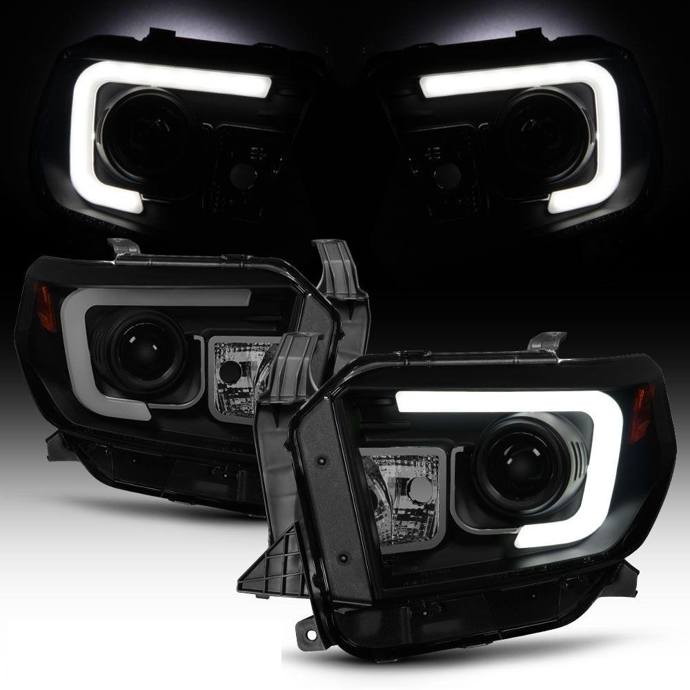 2014 17 toyota tundra led tube projector headlights black smoked