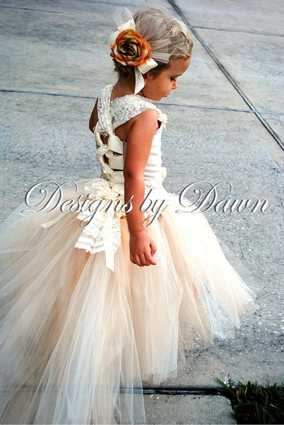 flower girl dress!!  Custom Made Champagne Flowergirl Dress. Corset top, tutu skirt with train and hair clip. Size 12m-5T. Custom sizes and colors available #EasyPin