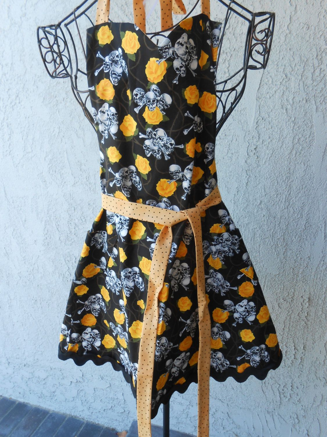 Apron with yellow roses and skulls by judarose on Etsy