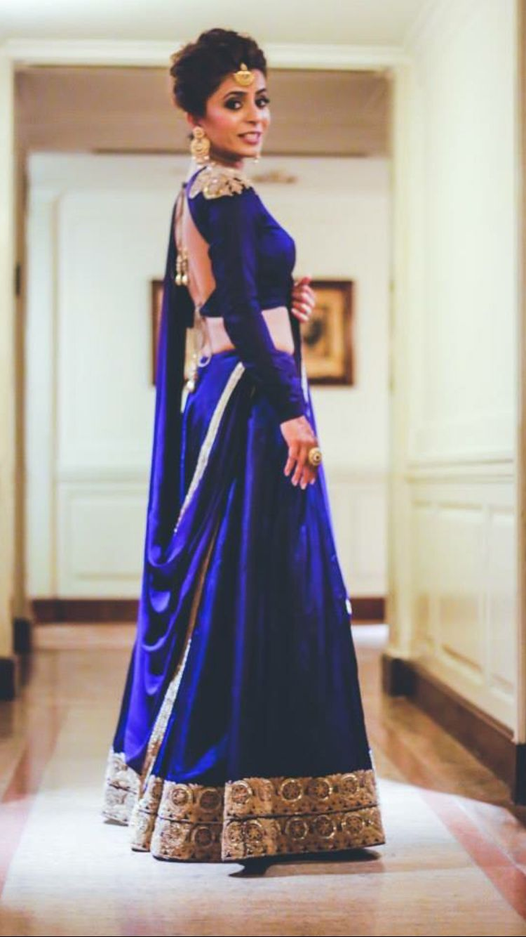 Blue Indian Wedding Dress Reception