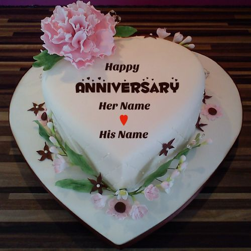 Heart Shaped Happy Anniversary Cake With Couple Name Name