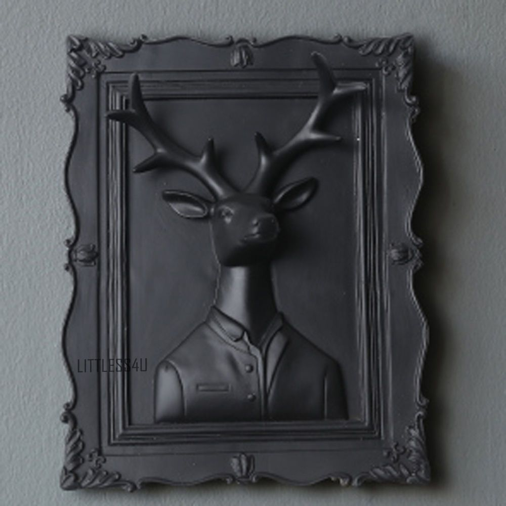 D deer head wall mounted hanging plaque resin art home decoration
