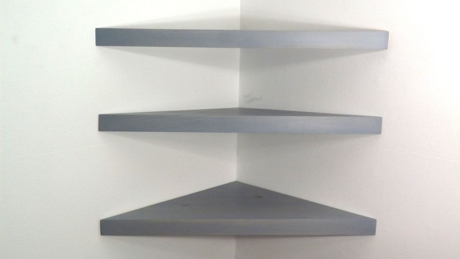 Set Of 3 22 Inch Floating Corner Shelves With Pearl Grey Stain
