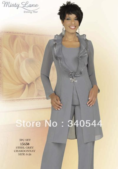 Elegent 3pc Mother of the Bride Pant Suits silver chiffon pleat collar long sleeves Waist Jewelry outfit with jacket $114.00