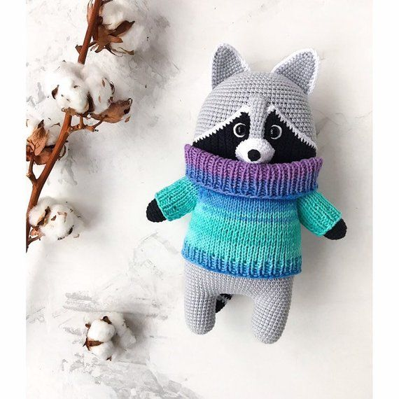 knitted raccoon amigurumi hand-knitted toy handmade funny toy raccoon eco toys miracle crocheted toy gifts stuffed toy doll Easter #knittedtoys