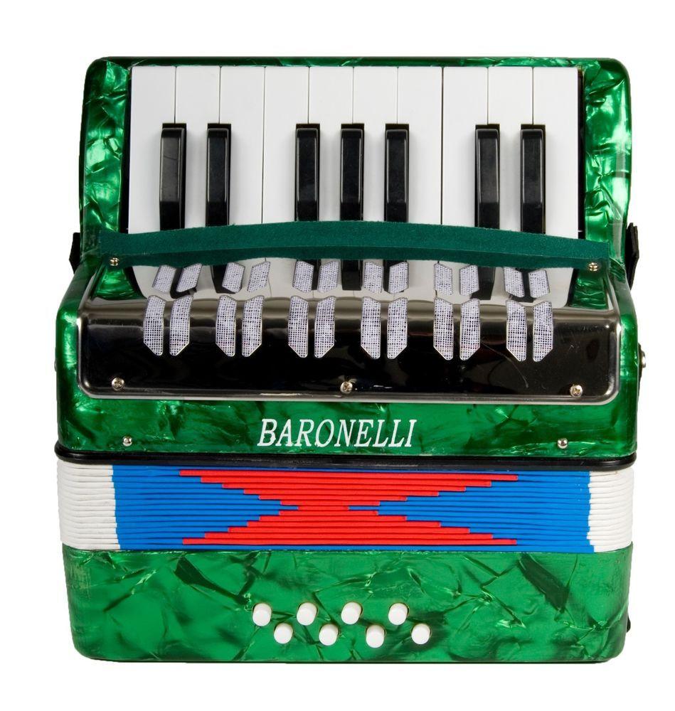 New Baronelli 17 Key 8 Bass Kid's Piano Accordion Green