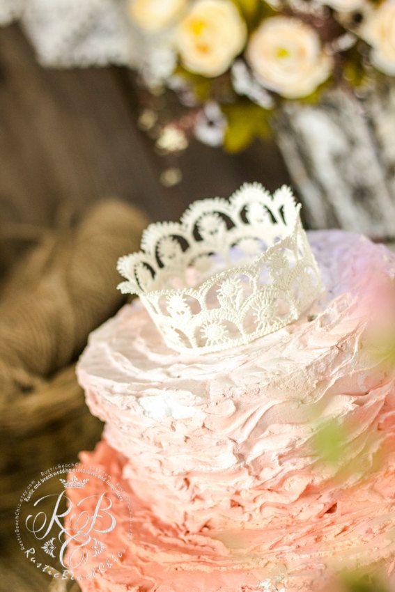 Ivory Rustic/Wedding Lace #CrownCake от RusticBeachChic на Etsy