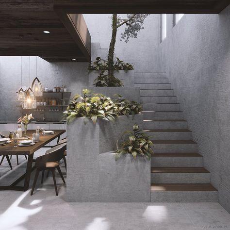 Die Holzpaneele auf der Treppe und die Holztäfelung im Zwischengeschoss sorgen für … – Holz DIY Ideen