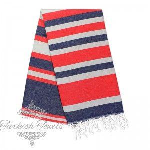 ec1b5a03be Selin Dark Blue Berry Red Turkish Towel Peshtemal - The Original Turkish  Towels