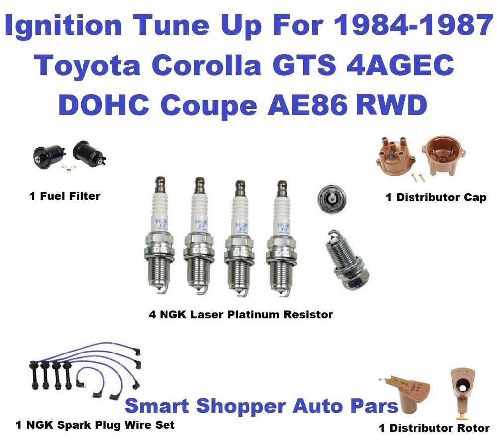ignition tune up kit for 85 87 corola gts 4agec ae86 ngk spark plug wire oe las aftermarketproducts [ 1000 x 887 Pixel ]
