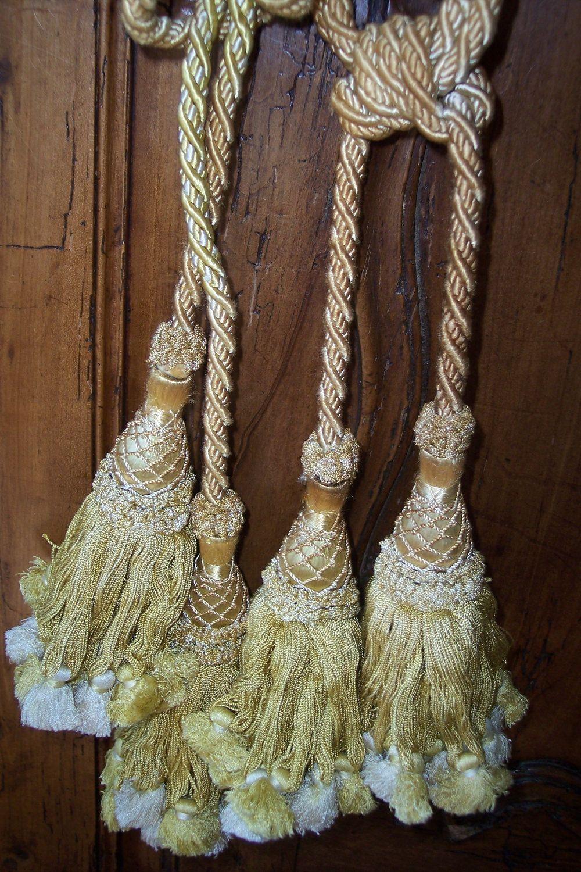 Antique French Pair Curtain Tiebacks Tie Backs W Tassel Ropecord