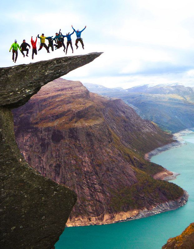 Trolltunga,Odda, Norway... oh hell no. But the scenery is amazing!
