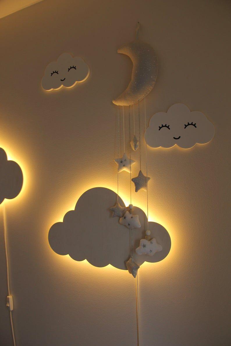 Cloud Night Light Wood Kids Lamp Baby Room Led Lam