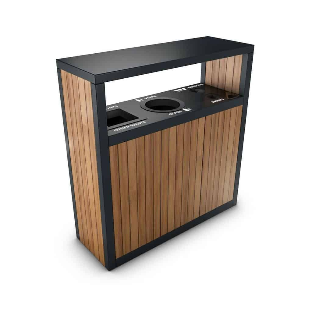 Maracaibo Bac Poubelle Tri Selectif Cendrier Exterieur Double Triple Flux Garbage Containers Modern Recycling Bins Street Furniture