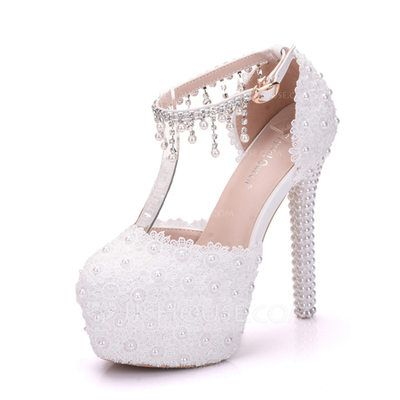 f4c582b6db [US$ 44.99] Women's Leatherette Stiletto Heel Closed Toe Platform Pumps  With Pearl (047151532)