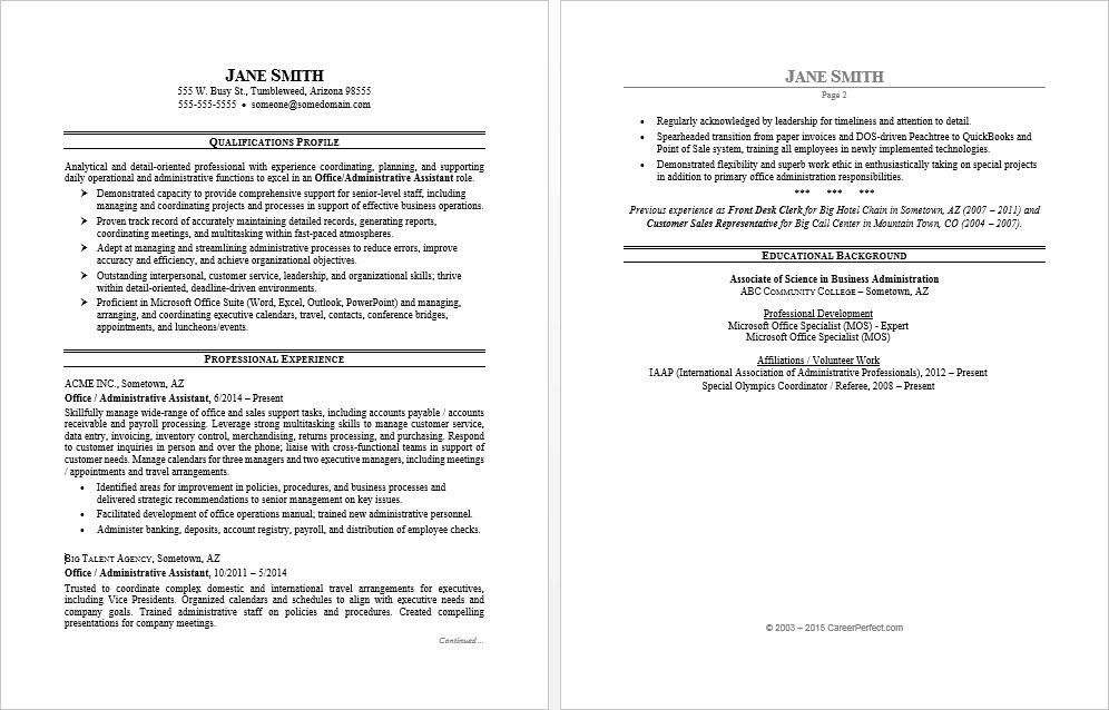 Awesome resume profile template pictures office assistant