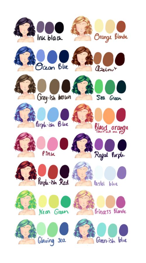 Art Stus Cheatsheets Same Hair Diffe Colors
