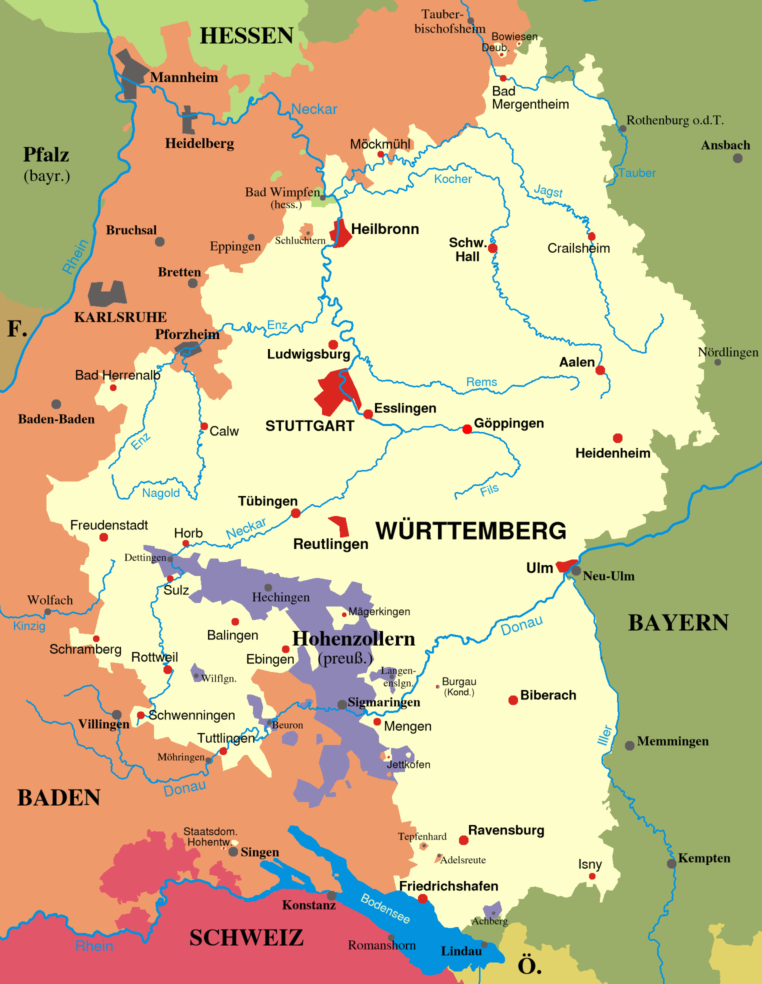 Map of Württemberg and Baden from 1810 1945