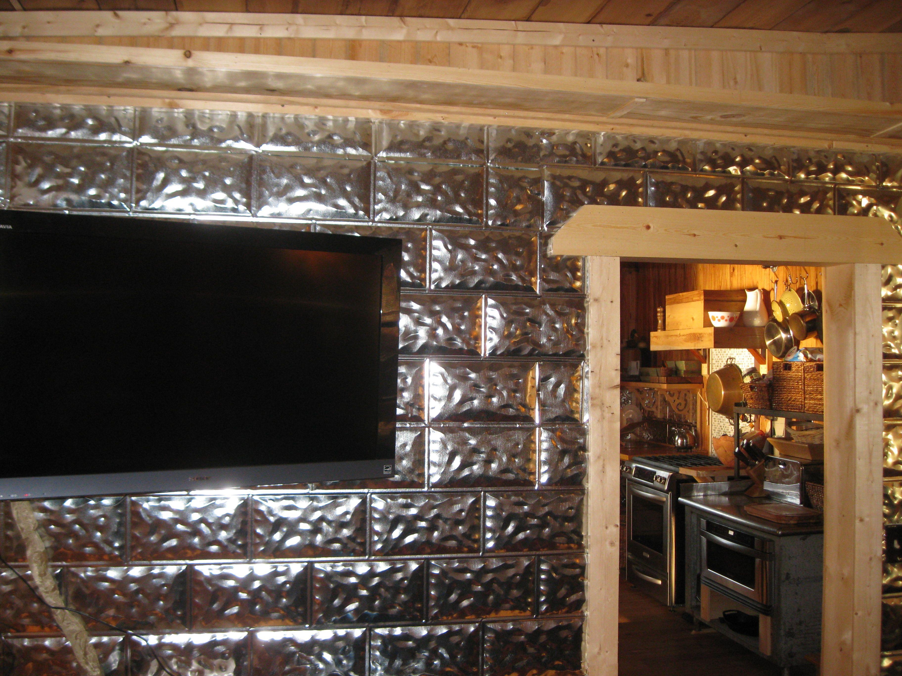 Lake house renovation wall covering using galvanized aluminum