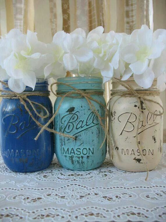Mason Jar Baby Shower Decorations Paint The Inside Of The Mason Jars And Put Bouquets In Them