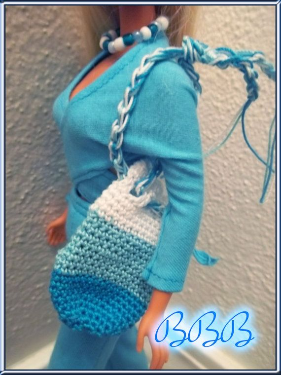 Barbie Clothes  Turquoise Barbie Outfit  with Crochet Accessories by BarbieBoutiqueBasics