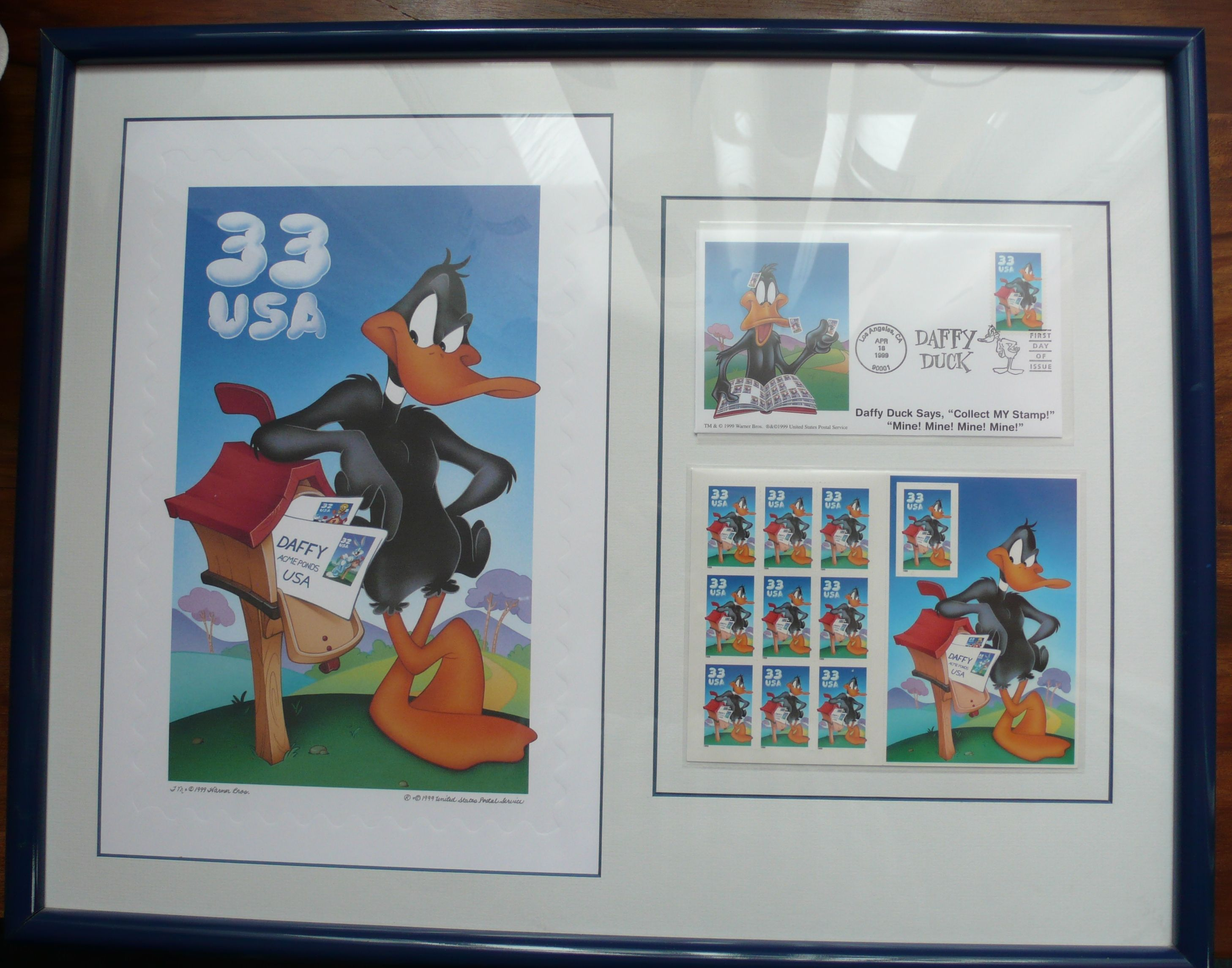 "DAFFY DUCK - STAMP ON A FIRST DAY COVER & PRINT - FRAMED - WARNER BROS LIMITED EDITION -  ""NEITHER BUGS NOR TWEETY NOR PUTTY TATS"" - WARNER BROS ANIMIATION ART 1999 - 3rd IN THE SERIES - PLUS CERTIFICATE OF AUTHENTICITY - IN MINT CONDITION -FRAMED ABOUT 17"" x 21"" - AVAILABLE FOR £125 PLUS POSTAGE"