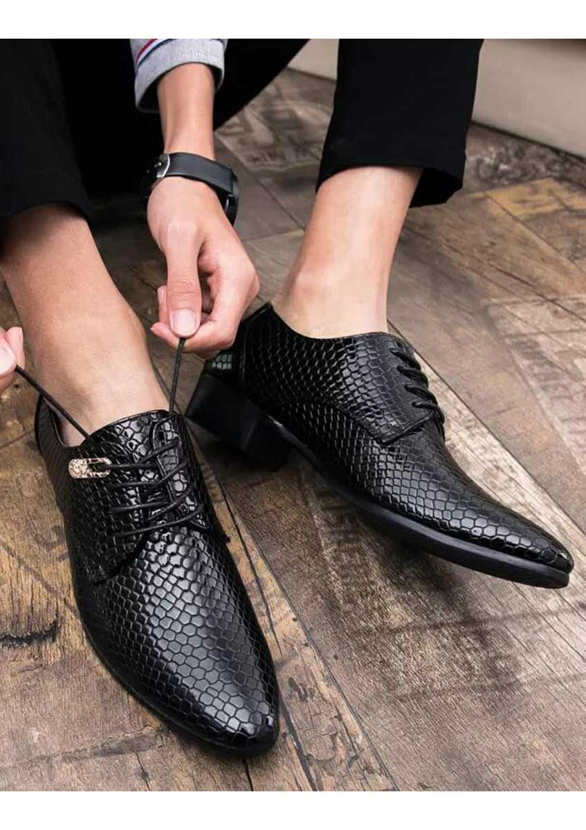 Black Snake Skin Pattern Leather Derby Dress Shoe In 2019 Men S