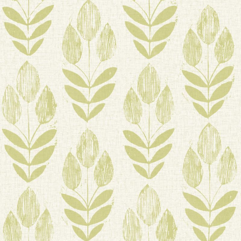 Brewster 2535-20649 Scandinavian Green Block Print Tulip Wallpaper Green Home Decor Wallpaper Wallpaper