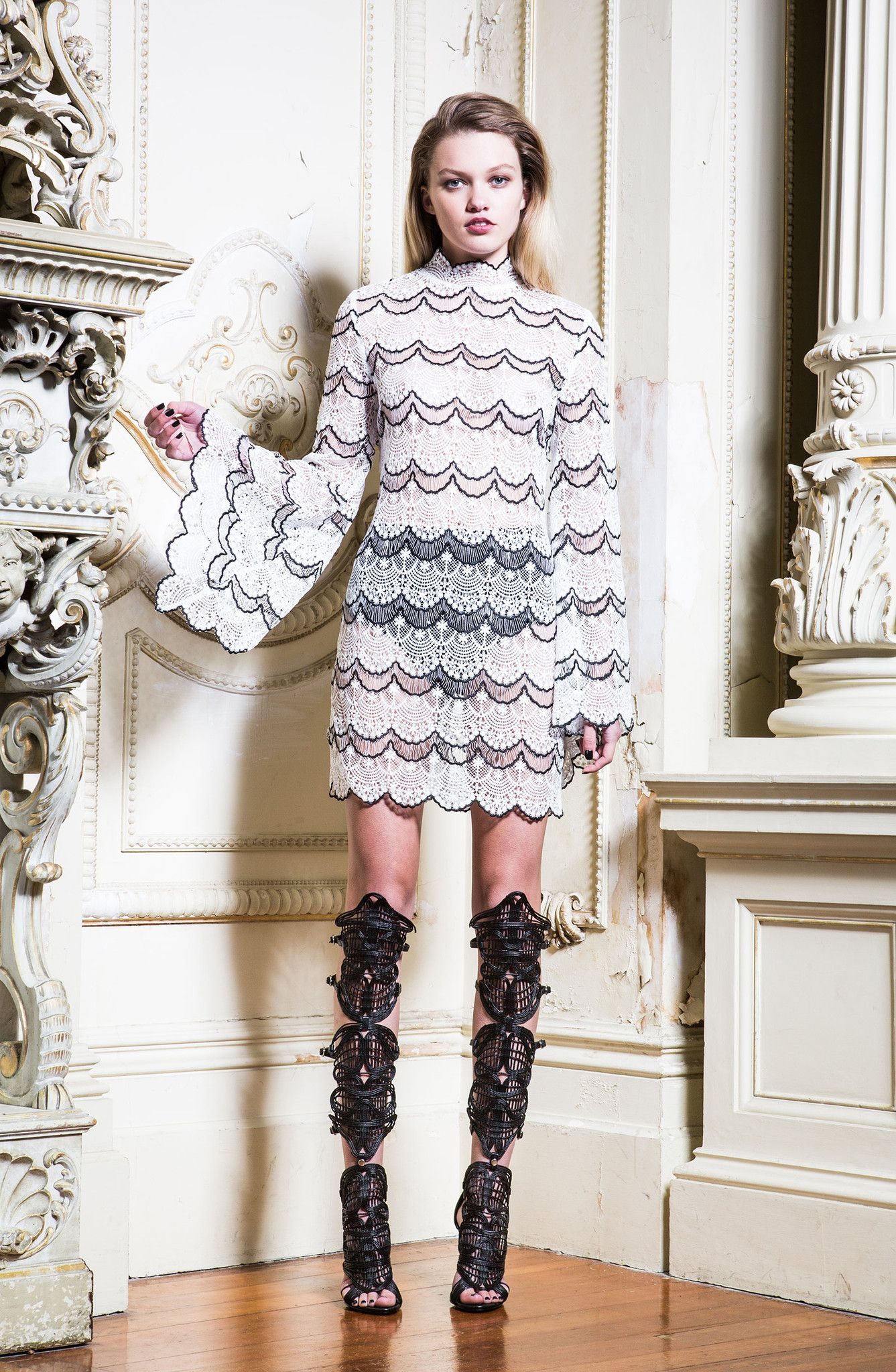 All lace mini dress with sleeves