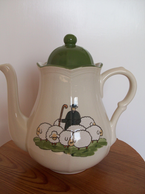Vintage Zeller Keramik Sheep And Shepherd Mint Etsy Vintage Crockery Large Coffee Coffee Pot