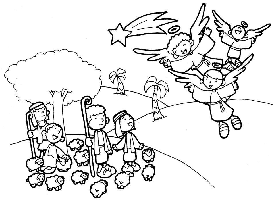 Angel Coloring Pages  Angels And Shepherds Coloring Sheets Coloring Pages