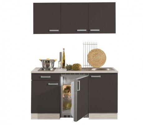 Miniküche 150 cm, anthrazit, Korpus Akazie | büro | Küchenmöbel ...
