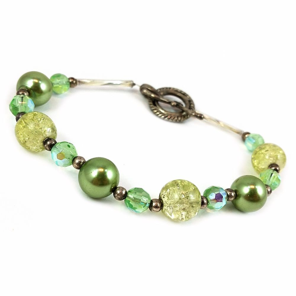 Green Beaded Bracelet Vintage Dichroic Glass Faux Pearl Silver Tone Toggle b165 #Unbranded #Beaded