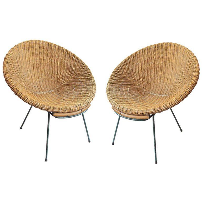 Pair Of Italian 1950s Wicker Bucket Chairs Interior
