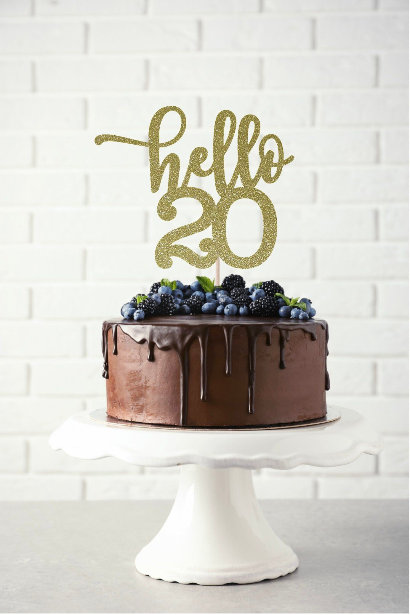 Hello 20 Glitter Cake Topper, Any Age Cake Topper, 20th