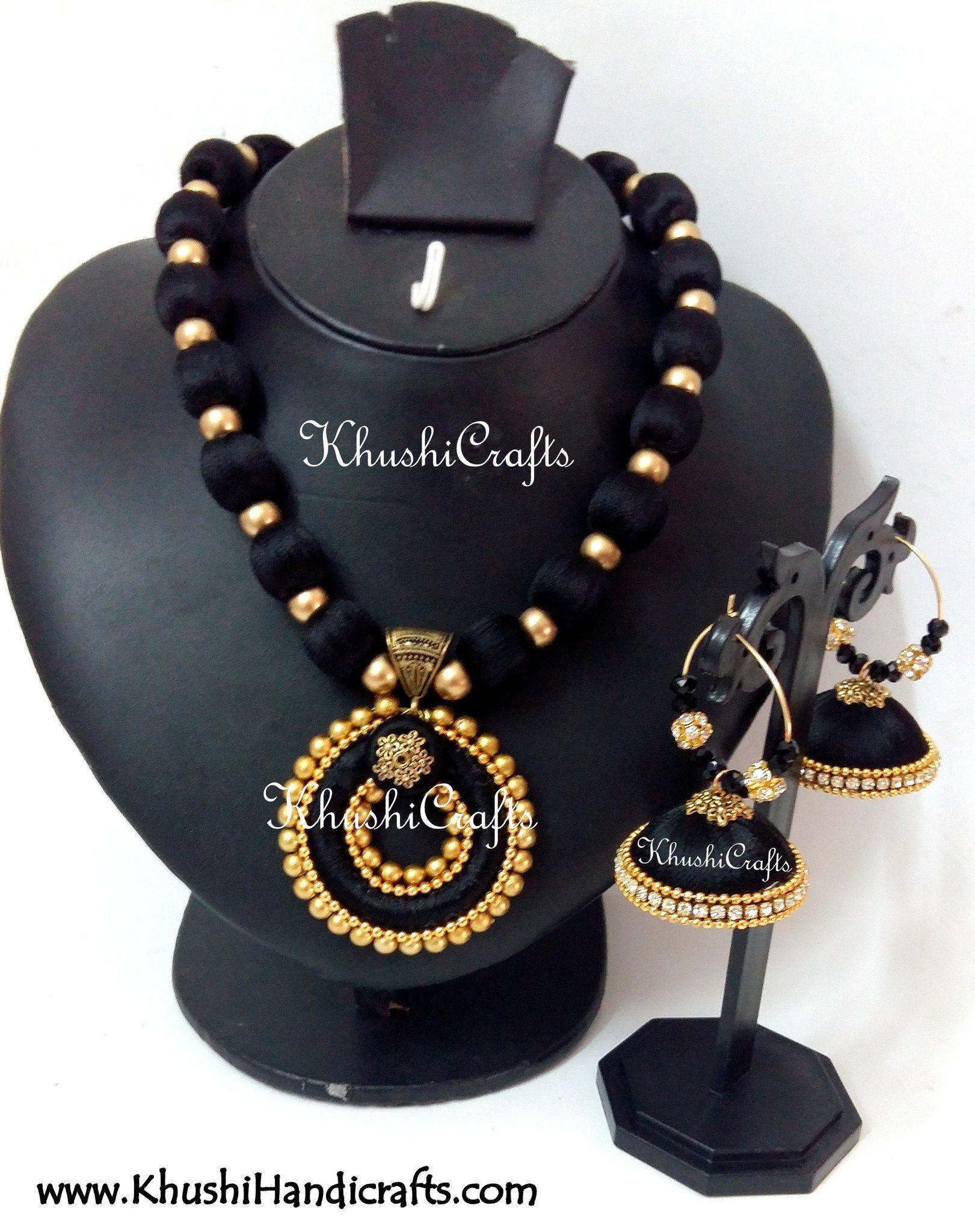 80b243c53 Black Silk Thread Jewellery Bridal Necklace set   Silk jewelery ...