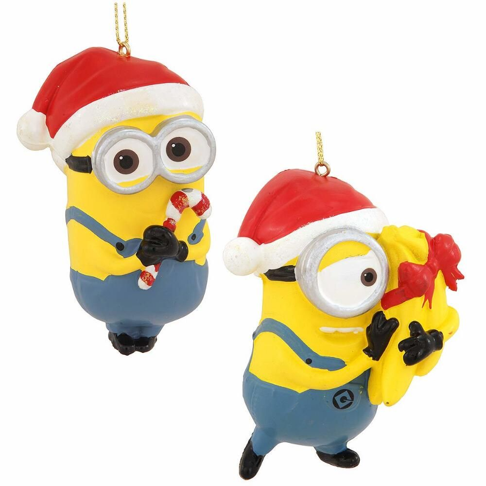 carl and dave despicable me minions ornament set 1195 christmas - Minions Christmas Decorations