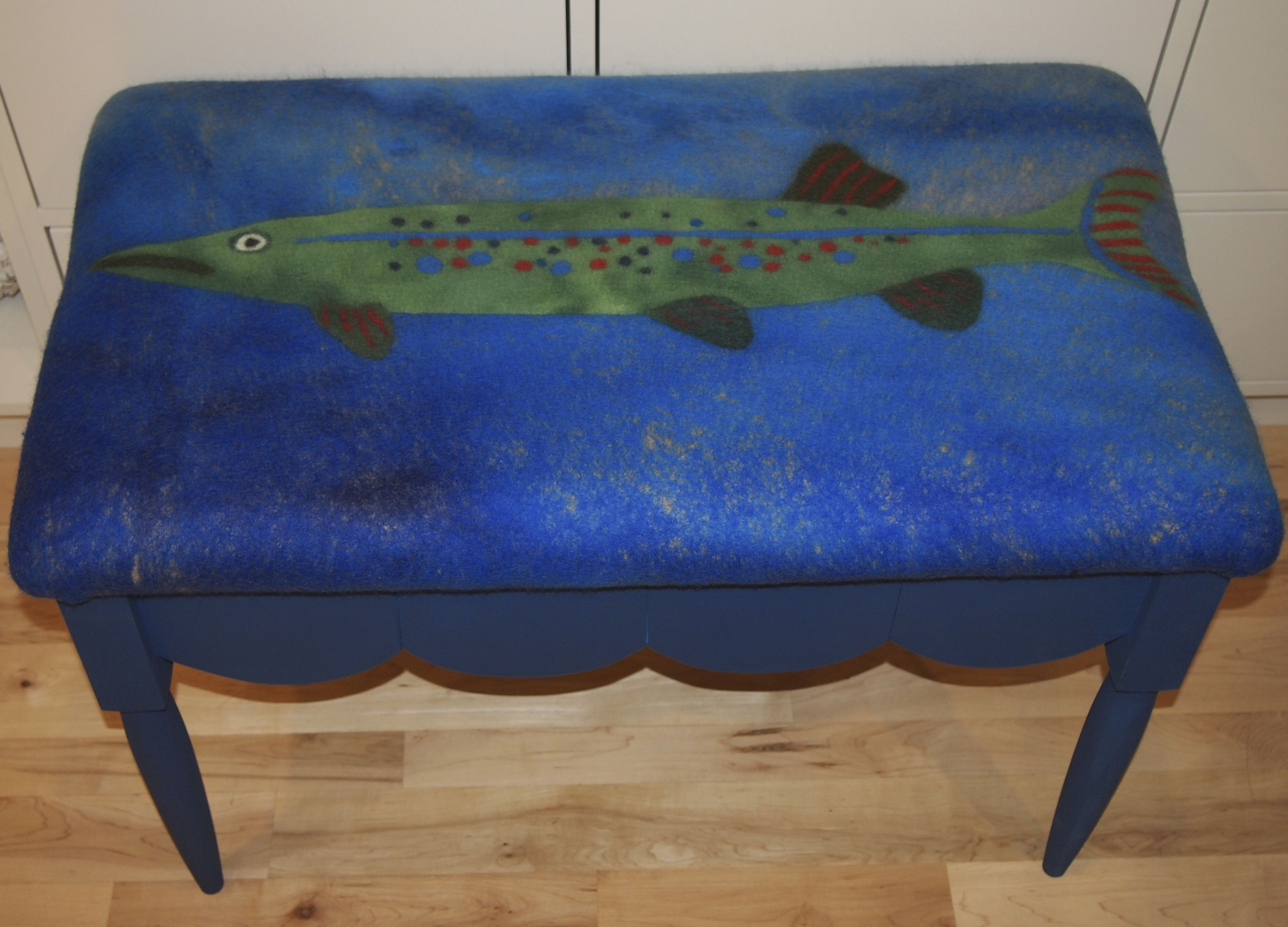 Big fish bench. Wet felted fabric by Bluebird Woolen Arts/Leslie Cervenka