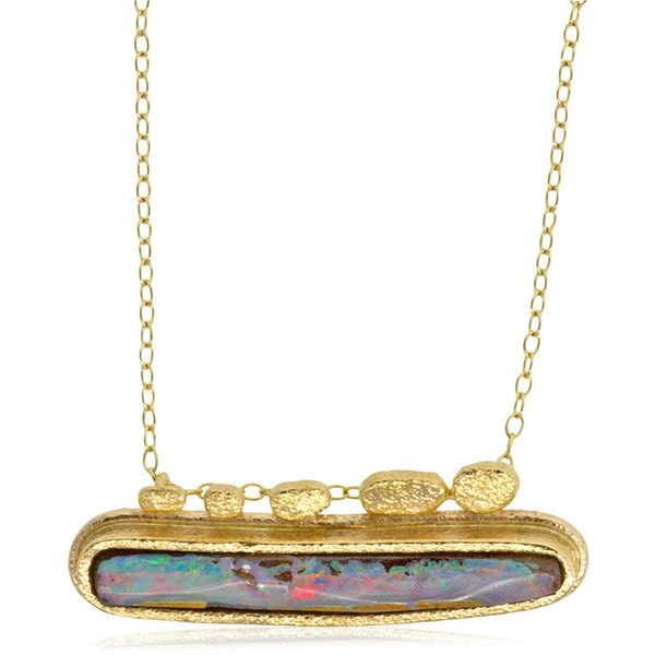 Boulder Opal Baby Blue Bar Necklace by Rona Fisher Jewelry Design ($1,725) ❤ liked on Polyvore featuring jewelry, necklaces, 18 karat gold necklace, 18 karat gold jewelry, long necklaces, chains jewelry and 18k necklace