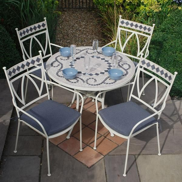 Lg Outdoor Marrakech 4 Seat Round Ceramic Garden Furniture Set