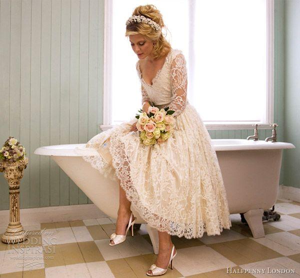 Vintage lace tea length wedding dresses
