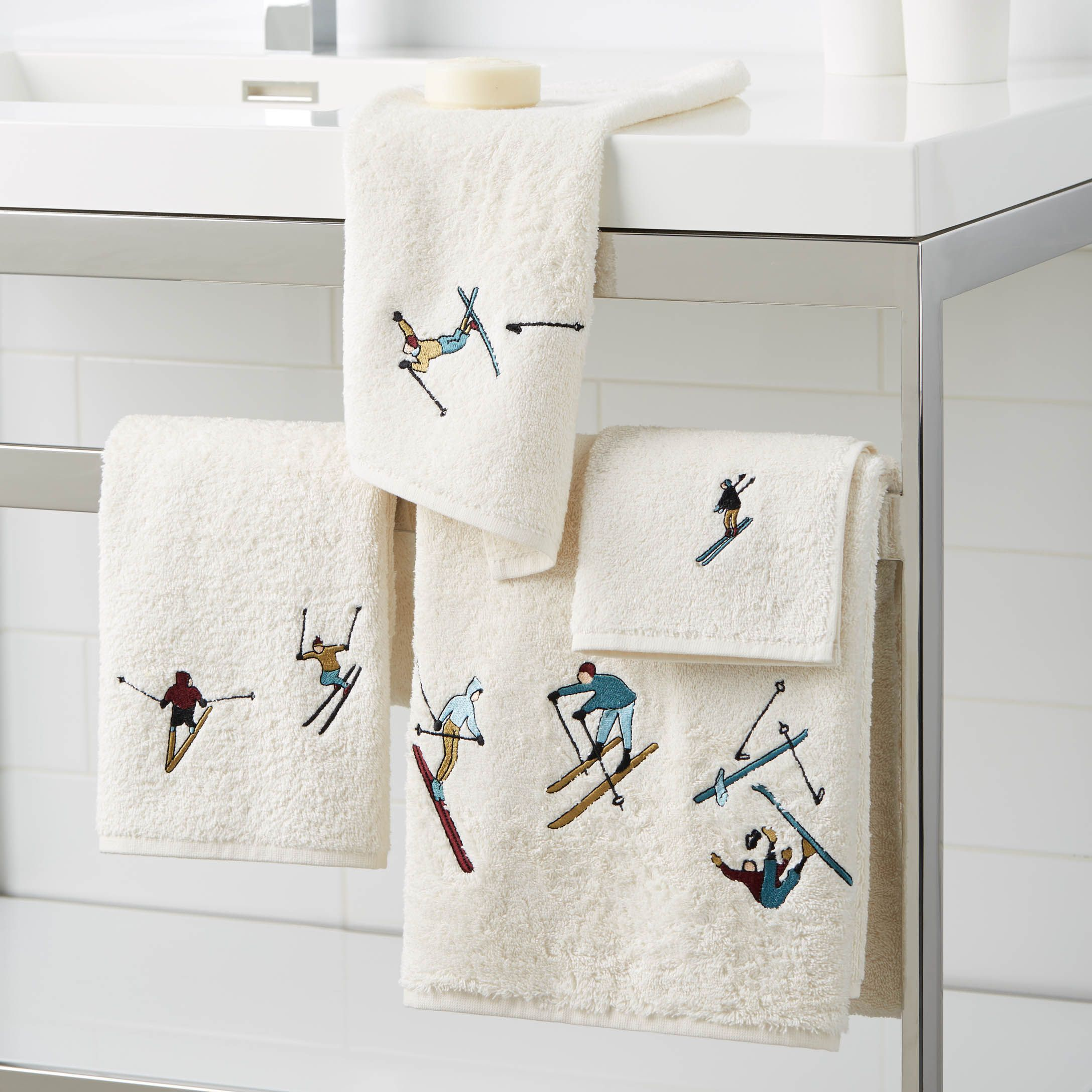 skiers towels simons #maisonsimons #holidays #decor #christmas