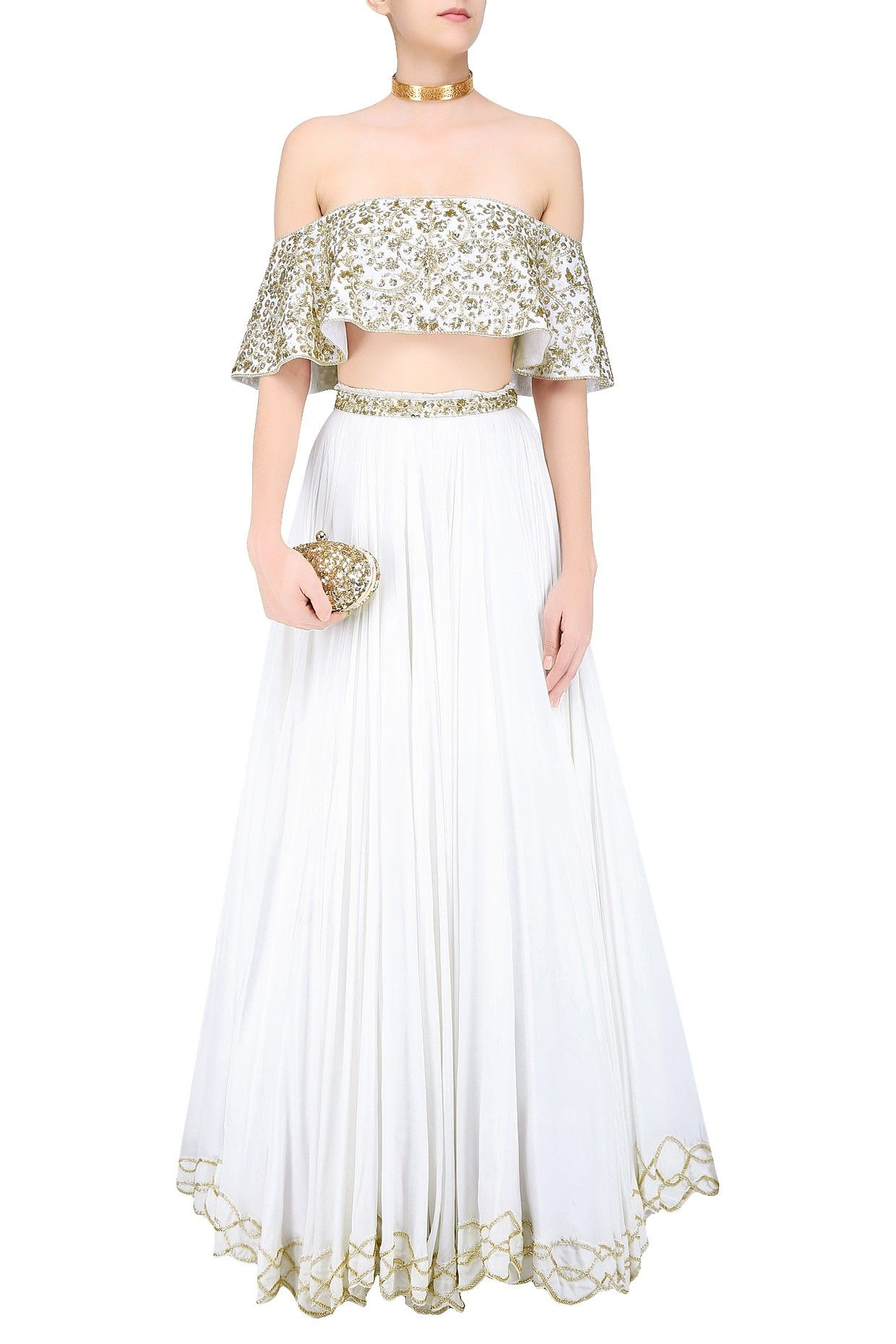 8b519ae1ba30 Ivory floral embroidered off shoulder blouse and lehenga skirt set  available only at Pernia's Pop Up Shop.